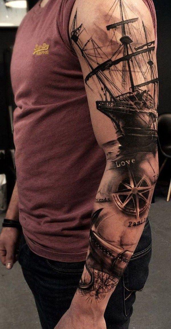 Sailor Inspired Sleeve Tattoo for Men. www. http://forcreativejuice.com/cool-sleeve-tattoo-designs/   tatuajes | Spanish tatuajes  |tatuajes para mujeres | tatuajes para hombres  | diseños de tatuajes http://amzn.to/28PQlav #tattoosformensleeve #TattooIdeasHombre