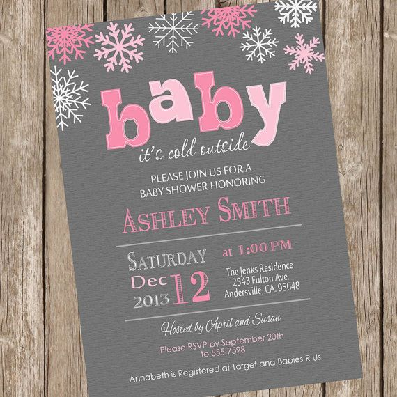 Baby it's cold outside baby shower invitation by ModernBeautiful