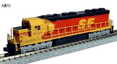 "Model Trains Kato Southern Pacific and Santa Fe Diesel Locomotive EMD SD45 """"Kodachrome"""" 176-3122 Cab No 5348 N Scale"