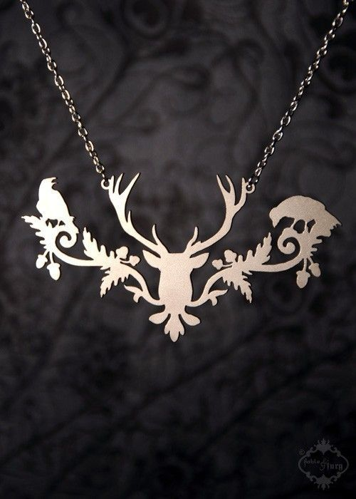 Woodland Deer head necklace in silver stainless by FableAndFury $34