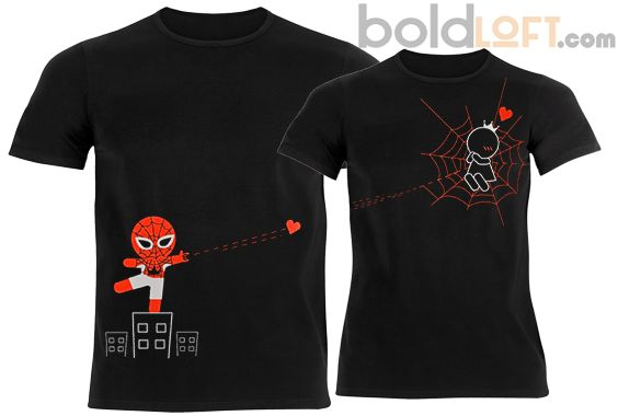 BoldLoft Captured by Your Love Couple T Shirts Black,Superhero T Shirts for Couples