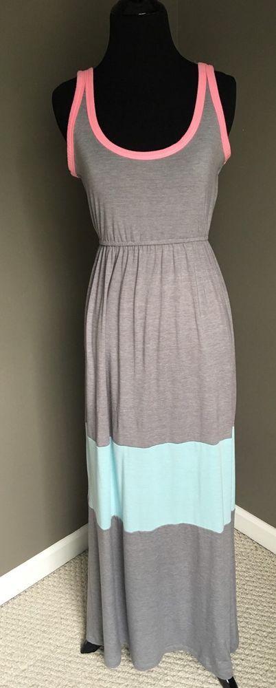 Rue 21 Maxi Dress Gray Pink Blue Summer Dress | eBay summer forever21 beachwear casual dress grey stripes