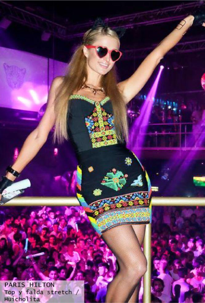 Paris Hilton in ibiza with Highly Preppy - conjunto étnico con pedrería crop top + falda bordada