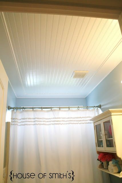 """DIY beadboard projects-5. This beadboard ceiling makeover by 'House of Smiths' makes this bathroom ooze with vintage awesomeness. It looks like a Victorian farmhouse! And I love her money saving tip for what to do when you need """"just a little bit more"""" but don't want to buy another sheet of beadboard, or have seams."""