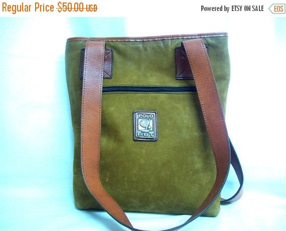 HOLIDAY SALE Vintage Polo Hut Military Swampy Brown Suede and Brown Leather Tote Bag / Distressed Suede & Leather Large Atheltic Army Should