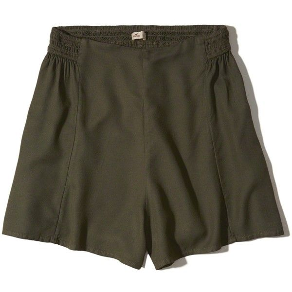 Hollister Woven Shorts ($30) ❤ liked on Polyvore featuring shorts, olive, hollister co. shorts, olive shorts, army green shorts, woven shorts and olive green shorts
