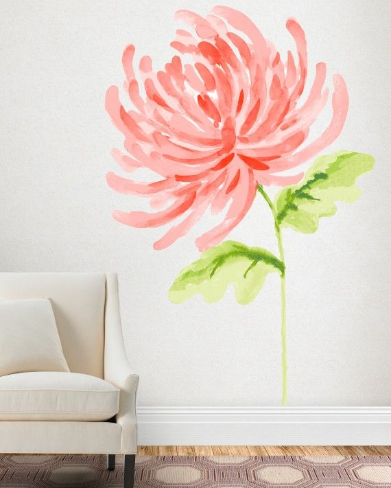 If you like the look of a wall mural but don't want to commit to paint, opt for a wall decal. There are plenty of removable options, like this Watercolor Chrysanthemum from the Martha Stewart Wall Art Decals.