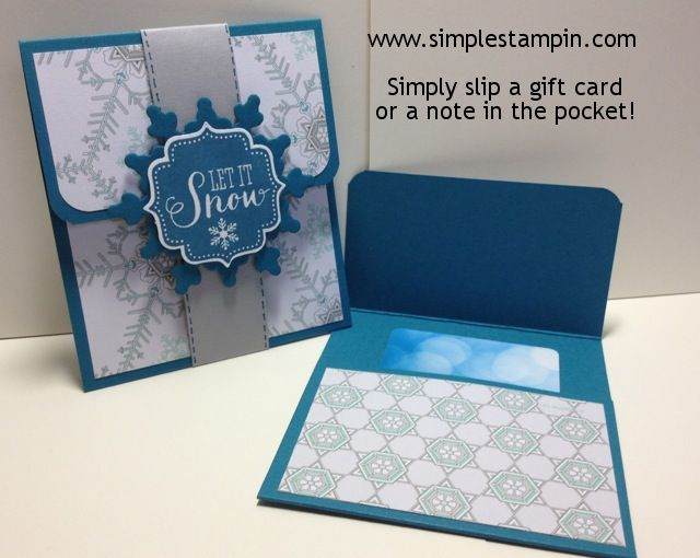 "Gift card Holder by Susan Itell. Cut card stock to 3.5 x 8.5. Score at 2"" and 6"". Round corners on the 2-inch flap. Fold up 2.5 to form a pocket to hold the gift card. Decorate flap with 1.75""x 3.25"" piece and pocket with 3.25""x 2.5"" piece. Close with a slip-on belly band, 1"" x 8.5""."