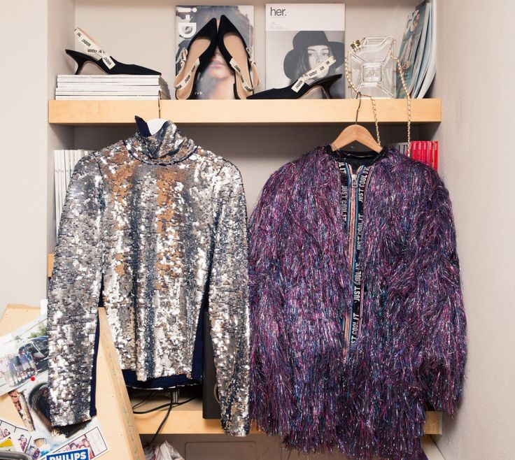 Inside Anna Dello Russo's Prodigy, Chiara Totire's Closet: When we arrived to her three-story loft-style home in Milan, Totire led us straight to the entire floor she had dedicated to her wardrobe. Rolling racks of blazers, leather jackets, and long, flowy dresses lined the walls. -- Sequined jackets in silver and purple  |  coveteur.com