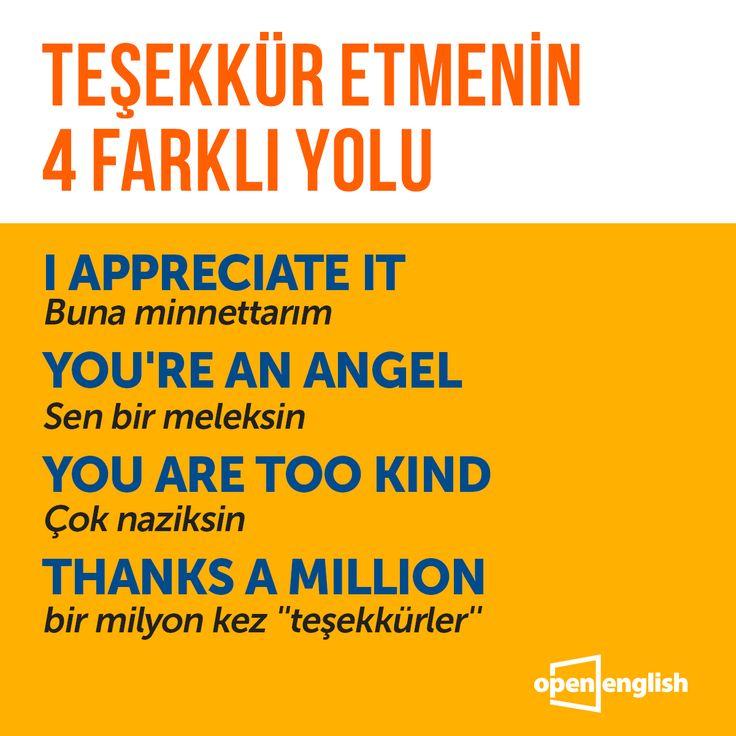 Teşekkür etmenin birçok farklı yolu var! Gelin birkaçına birlikte bakalım. #OpenEnglish