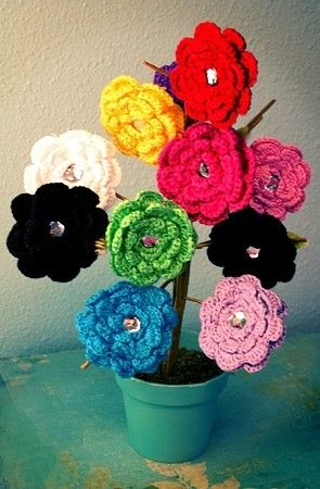 Bling Crochet Flower Clip in 12 different colors