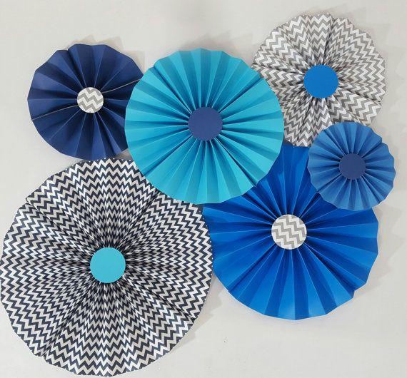 Conjunto de Chevron azul ombre de 6 rosetas de fiesta de cumpleaños