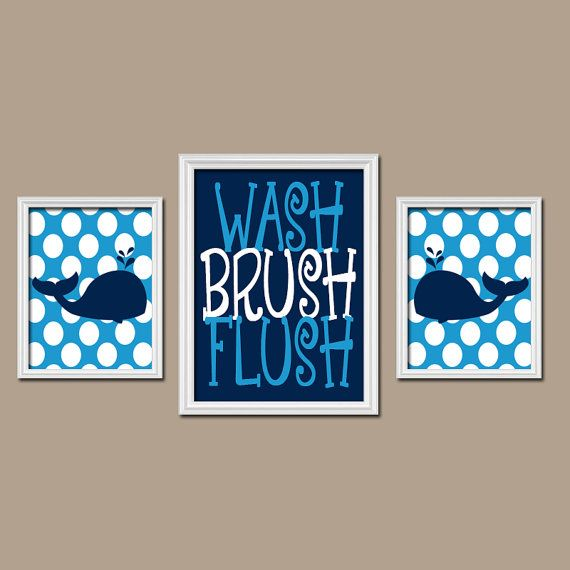 WHALE BATHROOM, Whale Wall Art, Canvas or Prints Child Bathroom, Boy Brothers Bathroom, Navy Blue Nautical Set of 3 Kid BATHROOM Rules