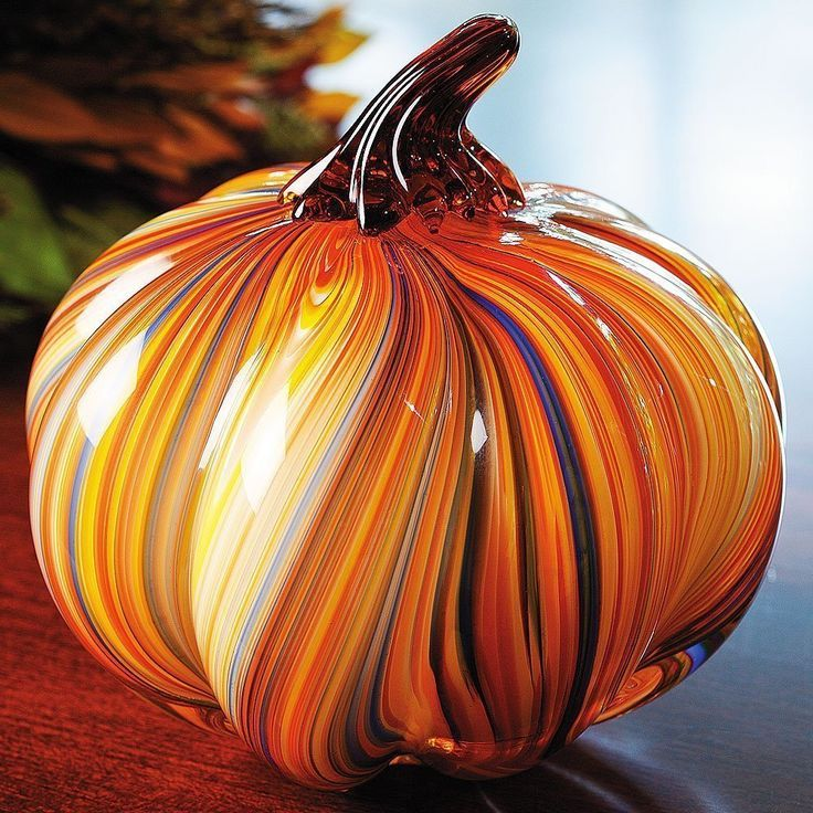 Art Glass Pumpkin Hand-Blown Glass Paperweight Home Decor Fall Halloween NEW