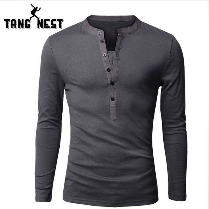 Korean Mens Long Sleeve Cotton Blend Splice Slim Fit Casual Top V Neck T-Shirt Z