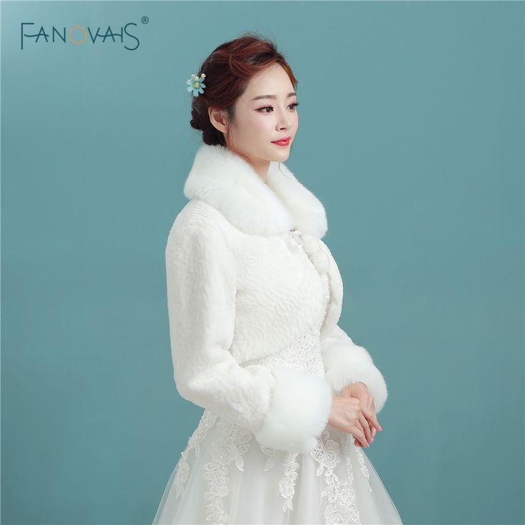 Free Shipping Long Sleeve Women Winter Wedding Faux Fur Jacket Bolero Wraps Bridal Coat for Wedding Dress PBJ05 #WinterWedding