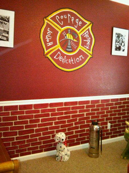 Firefighter Room  Like the brick pattern on the bottom of the wall. 25  best Firefighter room ideas on Pinterest   Firefighter decor