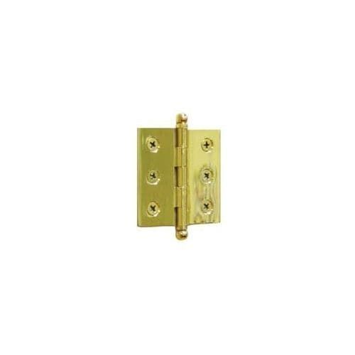 """Deltana CH2015 2"""" x 1-1/2"""" Solid Brass Cabinet Hinge with Ball Tip Finials (lifetime polished brass)"""