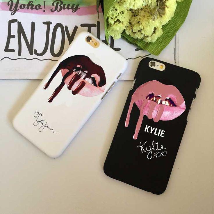 Cool super star Sexy meisje kylie jenner lippen Hard plastic Gevallen Cover voor iphone 5 s se 6 6 s 6 plus 7 7 plus zwart wit terug cover