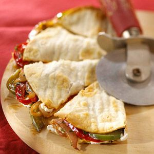 Veggie-Stuffed Quesadillas This makes a great low calorie, low fat snack for a crowd.