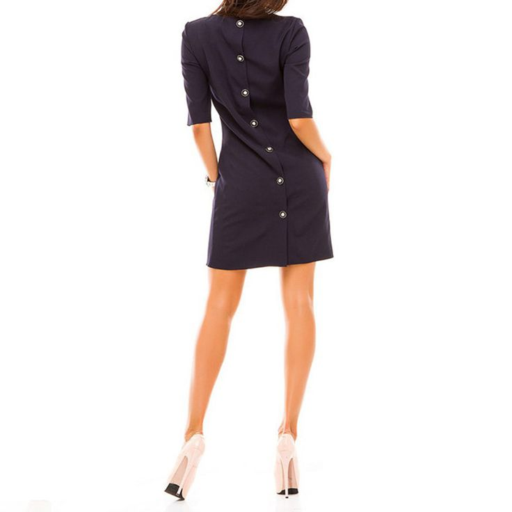 fashion Spring women's straight dress o-neck Half sleeved back row of buttons casual dress elegant party vestidos