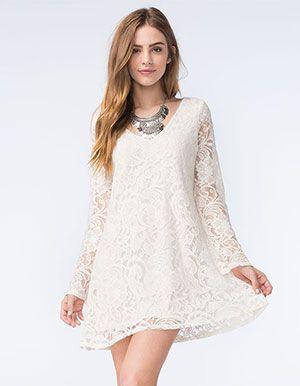 SOCIALITE Lace Swing Dress Off White