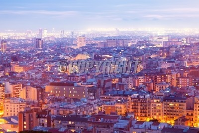Top night view of Barcelona from high point. Catalonia, Spain