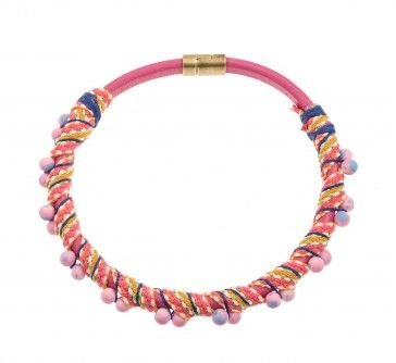"""Pachystima"" - Handmade bronze metal plated necklace with pink leather and glass stone, by Art Wear Dimitriadis"