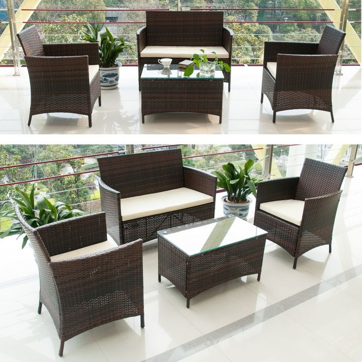 Buy this set http://amzn.to/2iIoCy8 BTM rattan garden furniture sets patio furniture set garden furniture clearance sale furniture rattan garden furniture set table chairs sofa patio conservatory wicker new (Brown)