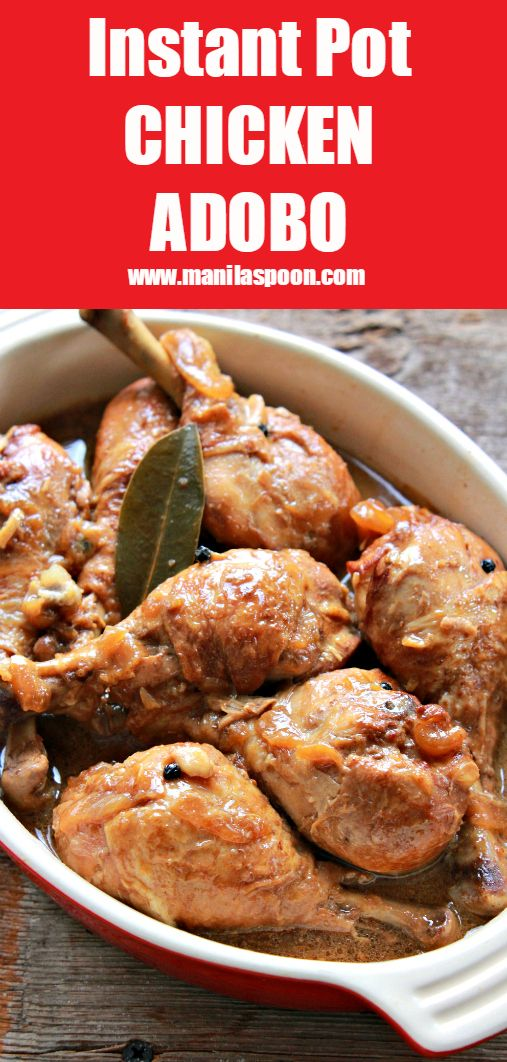 The classic Filipino dish - Chicken Adobo - marinated in vinegar, soy sauce, peppercorns and garlic then cooked in the pressure cooker (instant pot). Easy-peasy deliciousness!