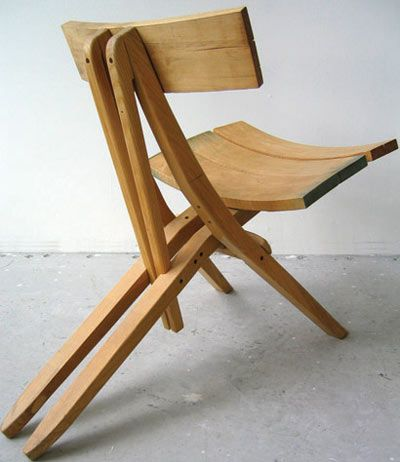 Designer John Booth has created these simple chairs which make use found and   recycled wood from used pieces of furniture. Each chair is custom built based on the available pieces booth finds.