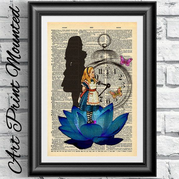 MOUNTED Alice in Wonderland Original Art print on antique dictionary book page. The blue Lotus wall art Flower artwork.