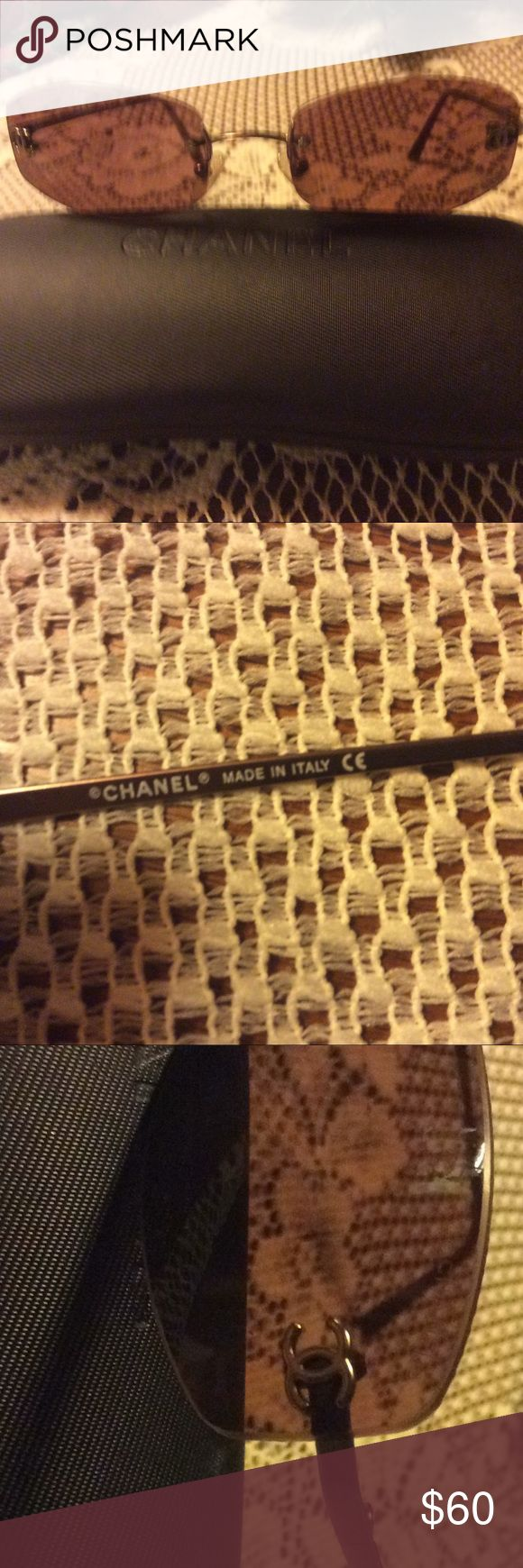 💥SALE💥RIMLESS CHANEL SUNGLASSES Nice Chanel rimless sunglasses with brown tint. Vintage Chanel logo on lenses. Scratches on right lens -not really noticeable unless you are looking for them.  They Do not interfere with vision.  Price reflects imperfections. Look great on smaller faces. Chanel Accessories Sunglasses