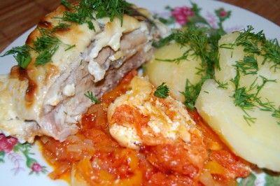 Рыба, запечённая на овощной подушке : Рыбные блюда