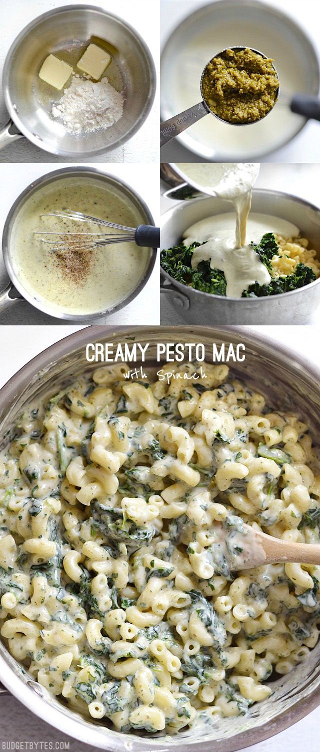 This simple creamy sauce packs huge flavor thanks to a small dollop of basil pesto. Creamy Pesto Mac is creamy comfort with some hidden vegetables, too! - BudgetBytes.com