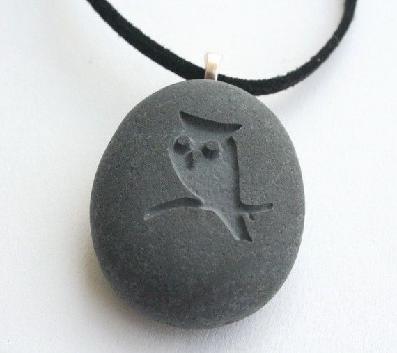 OWL  Tiny PebbleGlyph C pendant  engraved stone by sjengraving, $20.00