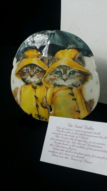 Vintage Hand Painted Sand Dollar 2Cats  w/ yellow rain coats