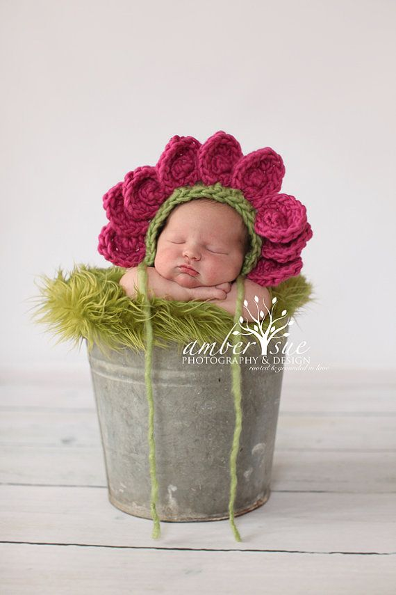 Newborn Baby Flower Bonnet Hat Crochet Photo Prop