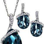 Neoglory Jewellery Swarovski Eléments Cristal Plaqué Platine Parures Bijoux Femme Couleur Bleu: Matériel: galvanisation d'or…