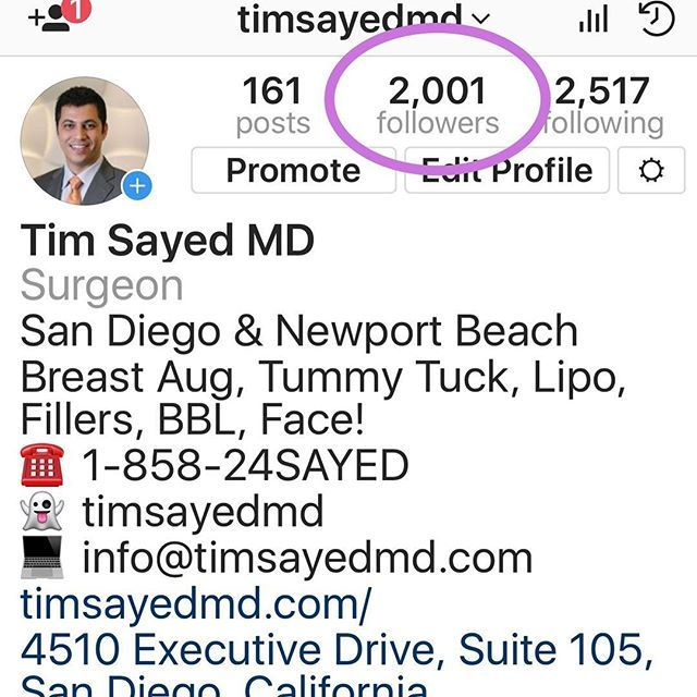 Over 2000 #followers and counting! Slowly building our #community based on good #patienteducation and #realresults! This is a #plasticsurgery #nospinzone! Thanks for #following! . To schedule your consultation and follow us: . ☎️ 1-858-24SAYED (1-858-247-2933) . 👻 timsayedmd . 💻 info@timsayedmd.com . Plastic Surgery Excellence: San Diego & Newport Beach 😎🤳🏼🌴 Breast Aug, Tummy Tuck, Lipo, Fillers, BBL, Botox, Rhinoplasty, Facelift . 4510 Executive Drive, Suite 105, San Diego, CA 92121…