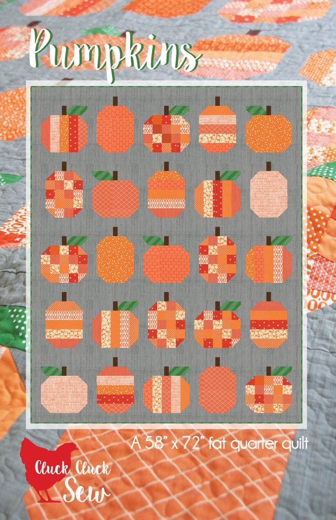 "Finished Quilt Size: 58"" x 72"" Fabric Requirements: - 10 Fat Quarters for pumpkins - 3 Yards background - 1/4 Yard green - 1/2 Yard brown - 4 Yards backing - 1/2 Yard binding"
