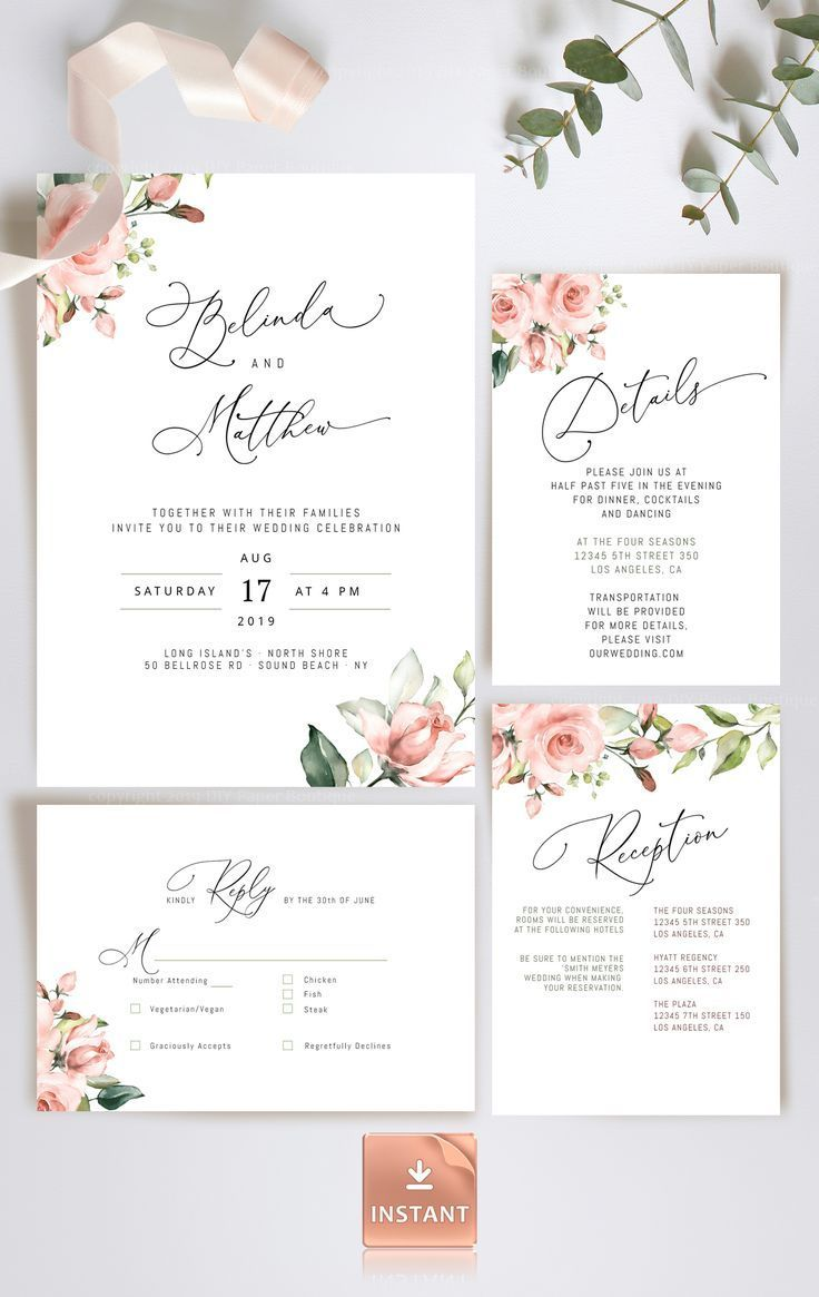 MIU - Blush Wedding Invitation Template with Roses and Greenery, Classic  Invitation, Printable Editable Invitation Set, Romantic Invitation   Blush  wedding invitations, Wedding invitation templates, Wedding invitations