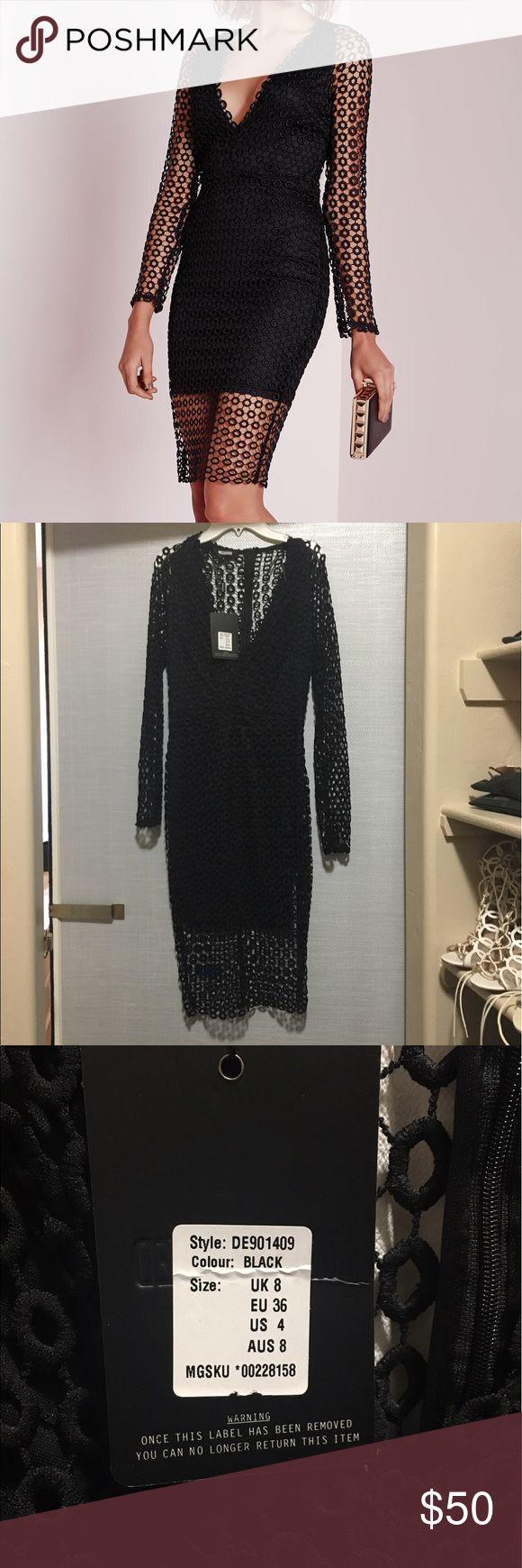 Brand new with tags black lace midi dress Semi low cut long sleeved lace midi dress Missguided Dresses Midi