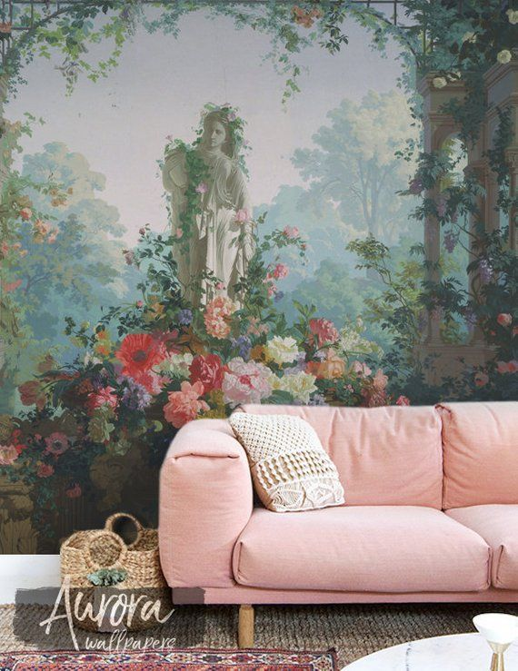 Garden of Goddess wallpaper, Peel and stick, Art wall mural, Painting wall decor, Removable wallpape