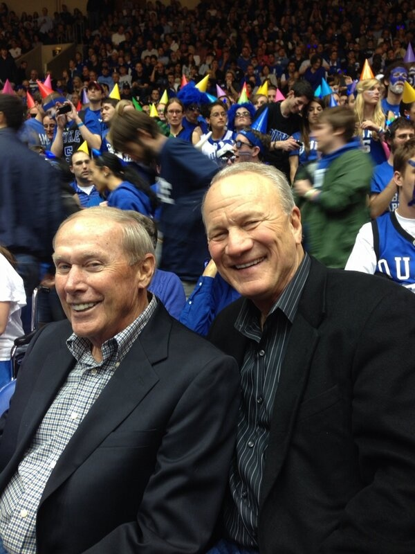 Barry Switzer. Billy Tubbs. Oklahoma coaching legends together at the Duke vs. North Carolina basketball game recently.