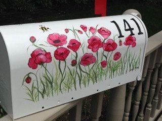 Boîte aux lettres coquelicot peint à la par DaisyCustomPainting
