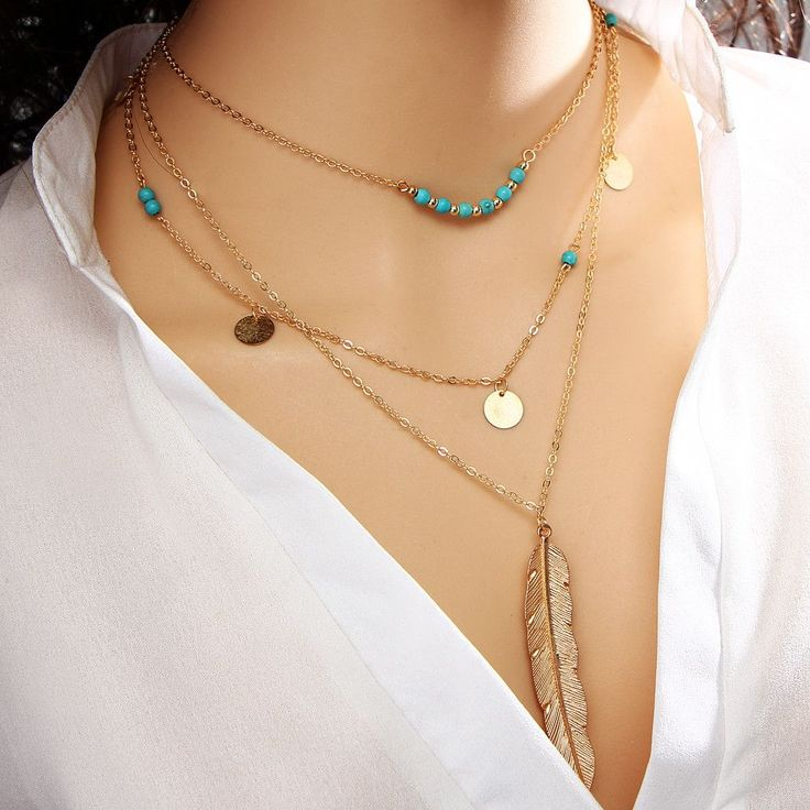Multi Layer Leaf Chain Necklaces