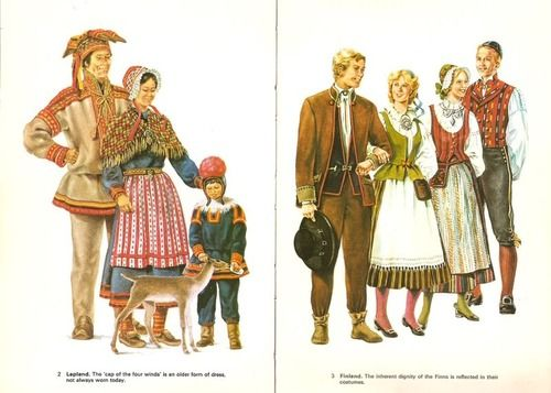 National Costume of Finland (right), based from folk costumes from different regions. Nowadays, these costumes are worn on special family, school and church festivals as well as folk dances. Shown on the left is the folk costume of the Sami people, the indigenous inhabitants of Lapland, which is a northern region of Finland.