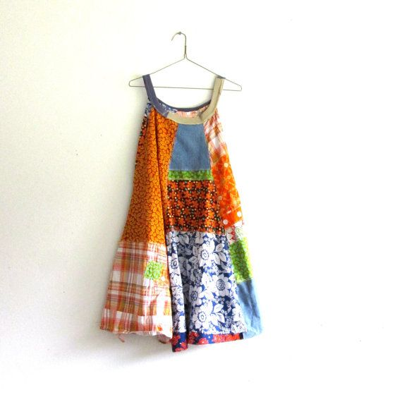 romantic Upcycled clothing / Patchwork Dress / Funky summer clothing by CreoleSha, $102.00