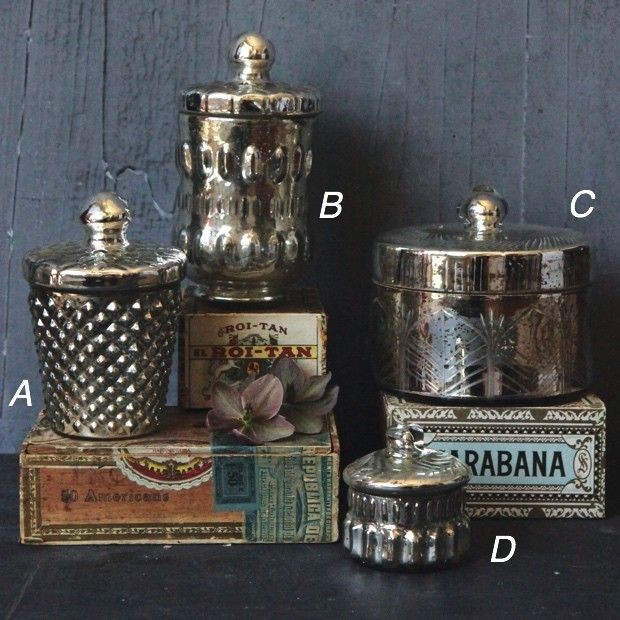 Mercury Glass Containers With Lids